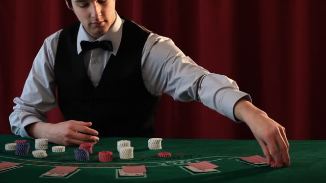 casino chips croupier - blackjack stock videos and b-roll footage