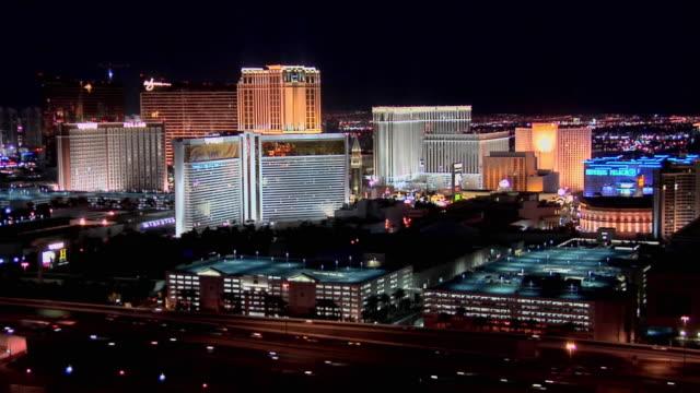 ws ha casino hotels of las vegas strip at night, las vegas, nevada, usa - 2008 stock videos and b-roll footage