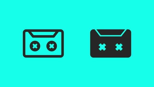 vídeos y material grabado en eventos de stock de cassette cinta iconos - vector animado - vector