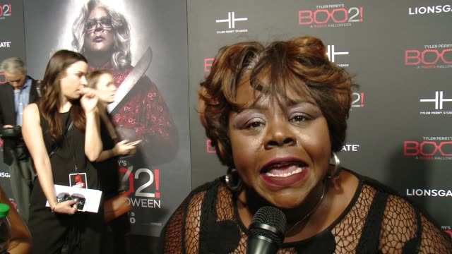 """INTERVIEW Cassi Davis on the premiere at Lionsgate Presents the Los Angeles Premiere of Tyler Perry's """"Boo 2 A Madea Halloween"""" in Los Angeles CA"""