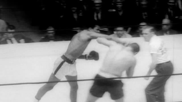 vídeos de stock, filmes e b-roll de cassius clay boxing gary jawish at madison square garden's 33rd annual golden gloves championship / cassius clay knocks out gary jawish by tko march... - luvas