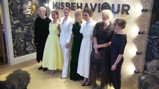 cast and crew at 'misbehaviour' world premiere on march 9, 2020 in london, england. - mischief stock videos & royalty-free footage