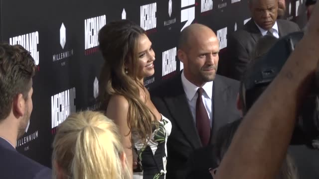 Cast and crew attend the premiere of upcoming thriller Mechanic Resurrection a remake of a 1972 film by the same name