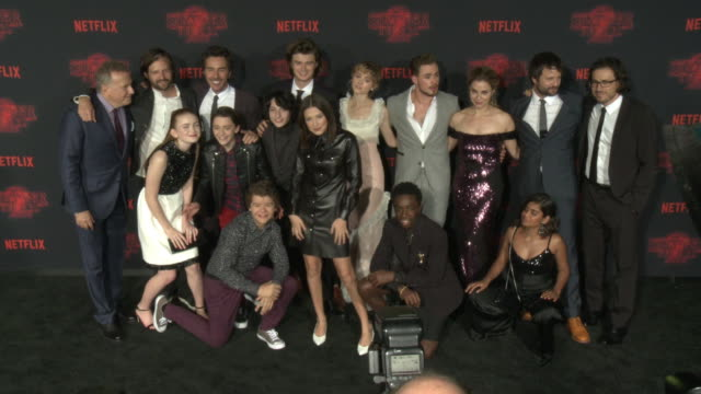 "cast and crew of stranger things at the netflix's ""stranger things 2"" premiere at regency bruin theatre on october 26, 2017 in los angeles,... - cast member stock videos & royalty-free footage"