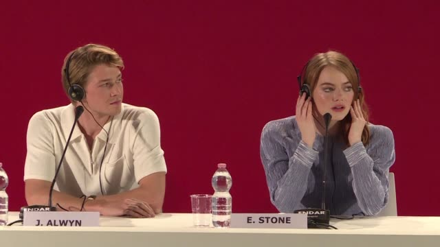 Cast and crew of the film The Favourite starring Emma Stone Rachel Weisz and Olivia Colman hold a press conference at the Venice Film Festival