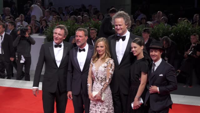 cast and crew of 'werk ohne autor' [never look away] arrive on the red carpet during the 75th venice film festival on september 4 2018 in venice italy - film festival stock videos & royalty-free footage