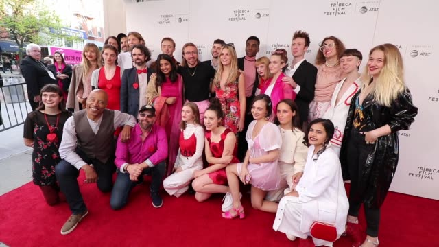 cast and crew pose at the crshd screening during the 2019 tribeca film festival at village east cinema on april 30 2019 in new york city - tribeca stock videos & royalty-free footage