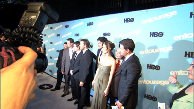 Cast crew posing together on carpet outside Ziegfeld Theater for press photographs Jerry Ferrara Kevin Dillon Kevin Connolly Adrian Grenier Perrey...