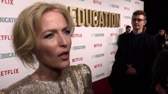 cast including gillian anderson asa butterfield emma mackay and ncuti gatwa attend the premiere of the second season of sex education aimee lou wood... - sex education stock videos & royalty-free footage