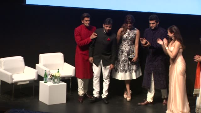 Cast members Arjun Kapoor Priyanka Chopra Ranveer Singh and director Ali Abbas Zafar at In Conversation with the 'Gunday' cast at Madinat Jumeirah on...