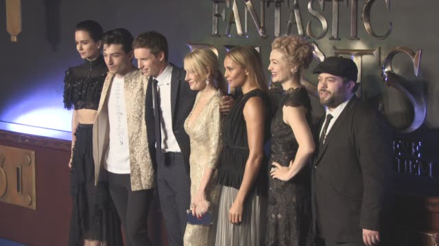 stockvideo's en b-roll-footage met cast of 'fantastic beasts and where to find them' european premiere at odeon leicester square on november 13 2016 in london england - ensemble lid