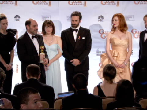 cast of glee on what the award means to the show about jon hamm's beard at the 67th annual golden globe awards press room at beverly hills ca - glee tv show stock videos and b-roll footage