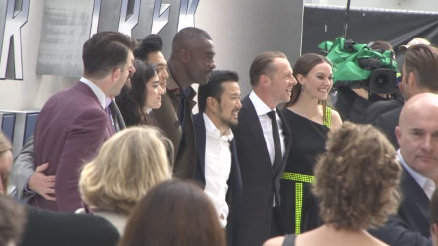 Cast of Star Trek Beyond pose for a group photo at 'Star