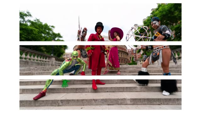 vidéos et rushes de cast of the world famous cirque du soleil 'totem' pose outside the royal albert hall on june 4 2018 in london england ahead of the shows return to... - ming