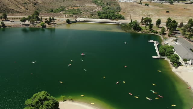 ktla castaic ca us aerial views of castaic lake on friday july 19 2019 - castaic lake stock videos and b-roll footage