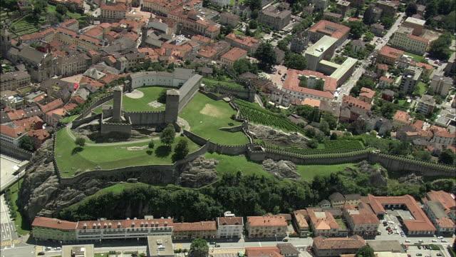 aerial zo castelgrande castle, bellinzona, ticino, switzerland - ticino canton stock videos and b-roll footage