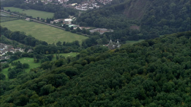 castell coch  - aerial view - wales, cardiff, tongwynlais, united kingdom - cardiff wales stock videos & royalty-free footage