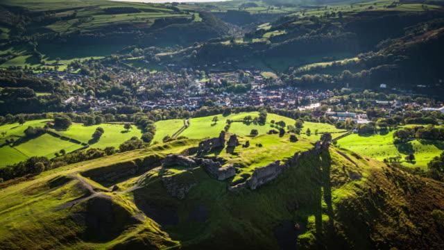 aerial: castell dinas bran, crow castle, llangollen - castle stock videos & royalty-free footage