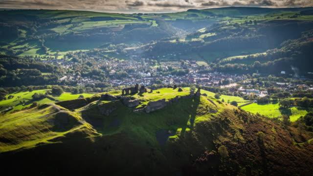 aerial: castell dinas bran, crow castle, llangollen - wales stock videos & royalty-free footage