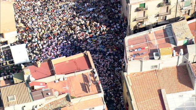 A Castell Or Human Tower At the Start  - Aerial View - Catalonia, Tarragona, Spain