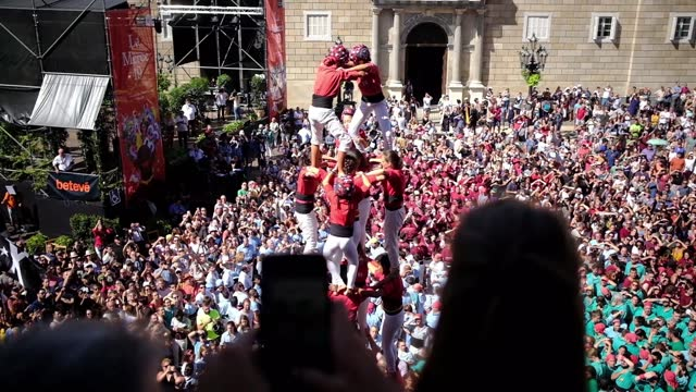 castellers human pyramid teamwork from catalonia - spanish culture stock videos & royalty-free footage