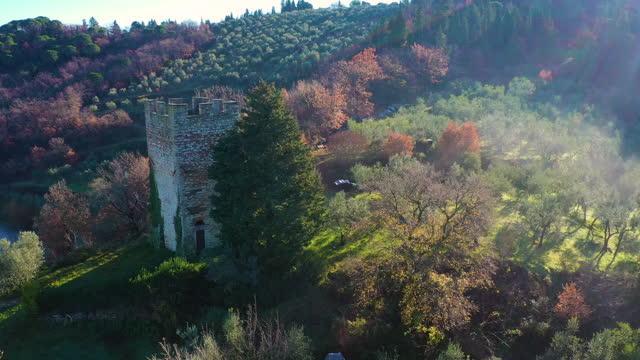 castello di verrazzano in chianti wine region, tuscany, italy - fog stock videos & royalty-free footage