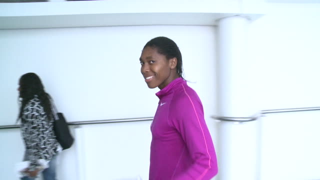 caster semanya south african middledistance runner and world champion give thumbs up sign as she arrives at heathrow for london for 2012 olympics /... - caster semenya stock videos & royalty-free footage