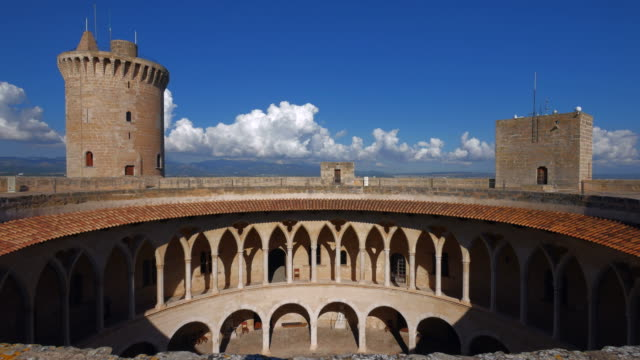 castillo de bellver, palma de mallorca, majorca, balearic islands, spain - majorca stock videos & royalty-free footage