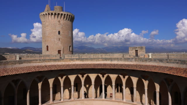 castillo de bellver, palma de mallorca, majorca, balearic islands, spain - castle stock videos & royalty-free footage