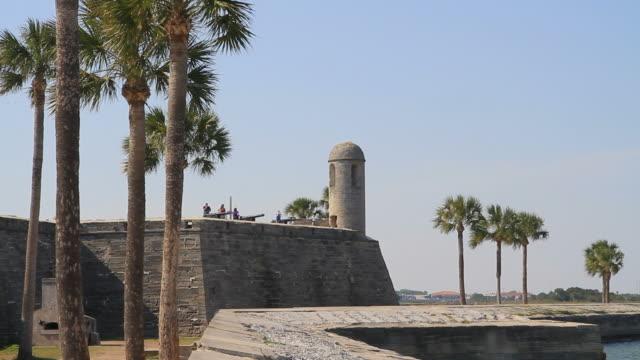 castillo de san marcos - tree fort stock videos & royalty-free footage