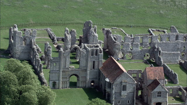 castle acre priory - aerial view - england, norfolk, king's lynn and west norfolk district, united kingdom - norfolk england stock videos & royalty-free footage