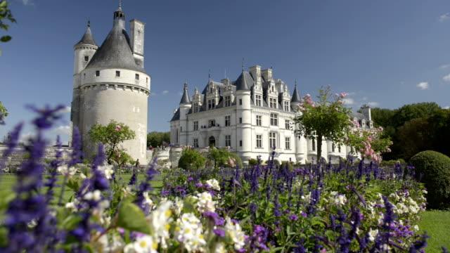 castle and garden of chenonceau - castello video stock e b–roll