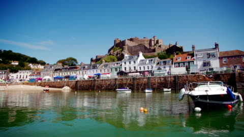 castle and habour - channel islands england stock videos & royalty-free footage