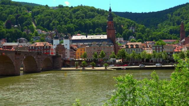 castle and old bridge over neckar river - neckar river stock videos & royalty-free footage