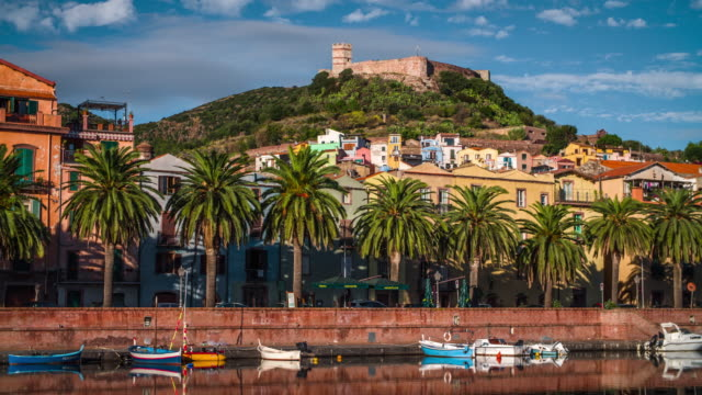castle and old town of bosa in sardina - italy - sardinia stock videos & royalty-free footage