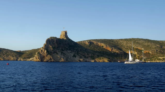 castle and sailboat at cabrera island - boat point of view stock videos & royalty-free footage