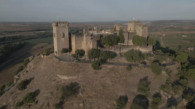castle at sunrise (aerial view) - colina stock videos & royalty-free footage