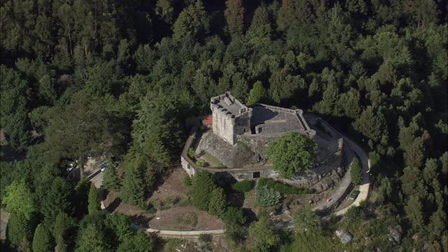 aerial ws castle at vilasobroso / vilasobroso, galicia, spain - galicia stock videos & royalty-free footage