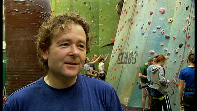 castle climbing centre in hackney wins green awards int chris arnold interview sot proves it can be done / it's a good example - environmental media awards stock videos & royalty-free footage
