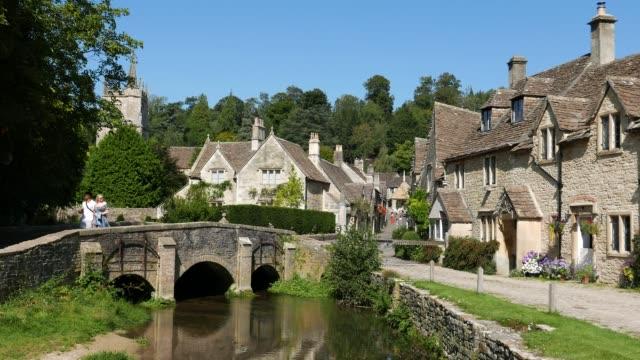 castle combe village - riverbank stock videos & royalty-free footage