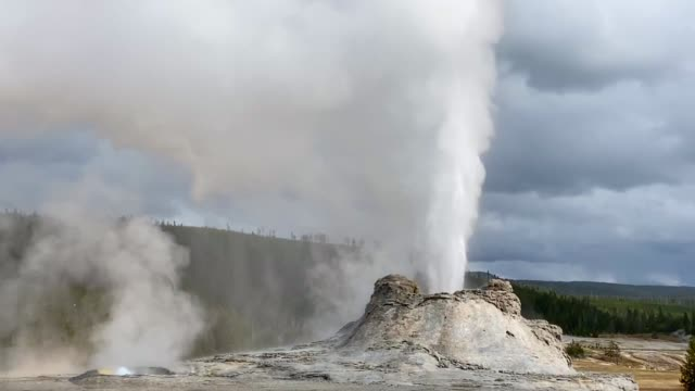 castle geyser and tortoise shell spring, yellowstone national park - geyser stock videos and b-roll footage