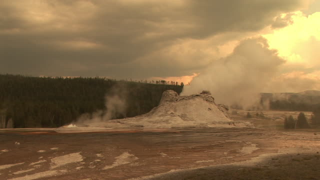 stockvideo's en b-roll-footage met ms, castle geyser  steam eruption, upper geyser basin, yellowstone national park, wyoming, usa - sepiakleurig