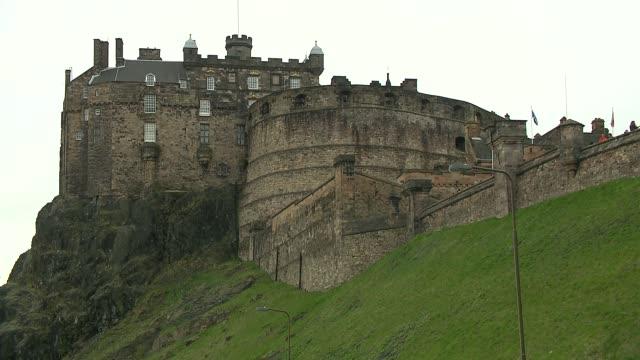 castle in edinburgh - stone object stock videos & royalty-free footage