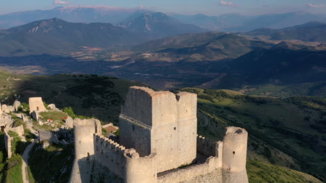 castle in rocca calascio, gran sasso national park, abruzzo, italy - ruined stock videos & royalty-free footage