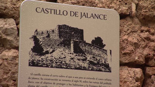 castle jalance in spain - information sign - information sign stock videos & royalty-free footage