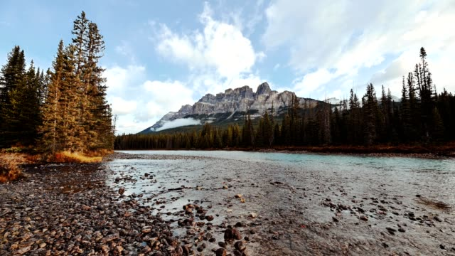 castle mountain with bow river flowing at morning in banff national park, canada - tied bow stock videos & royalty-free footage