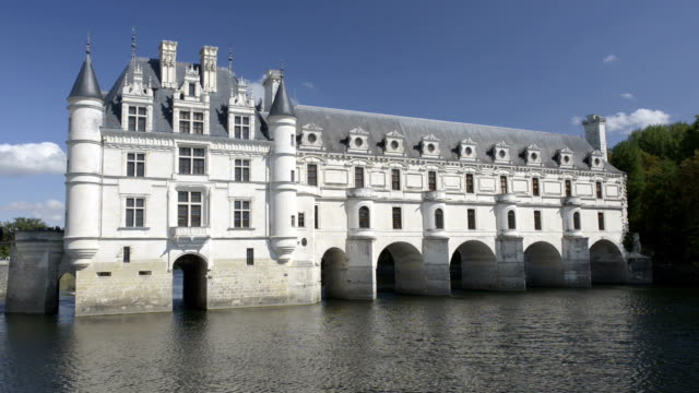 castle of chenonceau over cher river - castle stock videos & royalty-free footage