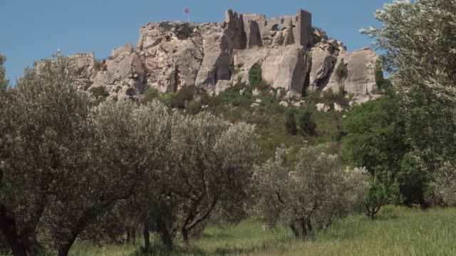 castle of les baux de provence surrounded by olive trees - provence alpes cote d'azur stock videos & royalty-free footage