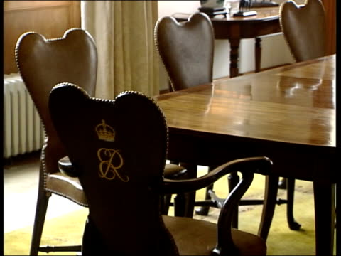 castle of mey opened to public itn caithness gvs castle of mey int gv dining room in castle ms queen mother's royal crest on back of chair gv study... - tapestry stock videos & royalty-free footage