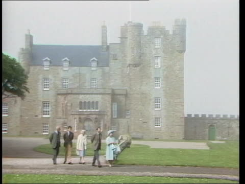 castle of mey opened to public lib queen mother along through grounds during holiday to castle - queen dowager stock videos & royalty-free footage